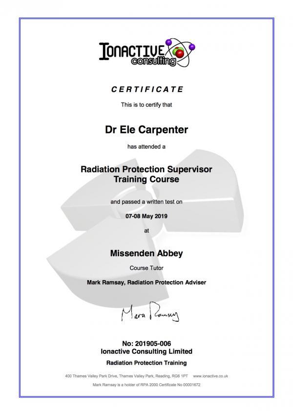 RPS Certificate Ele Carpenter May 2019