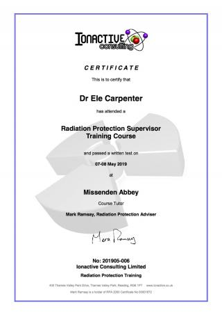 RPS Certificate Ele Carpenter May 2019
