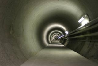 A tunnel of Grimsel (Switzerland) laboratory where explorations are carried out for constructing a deep geological repository.